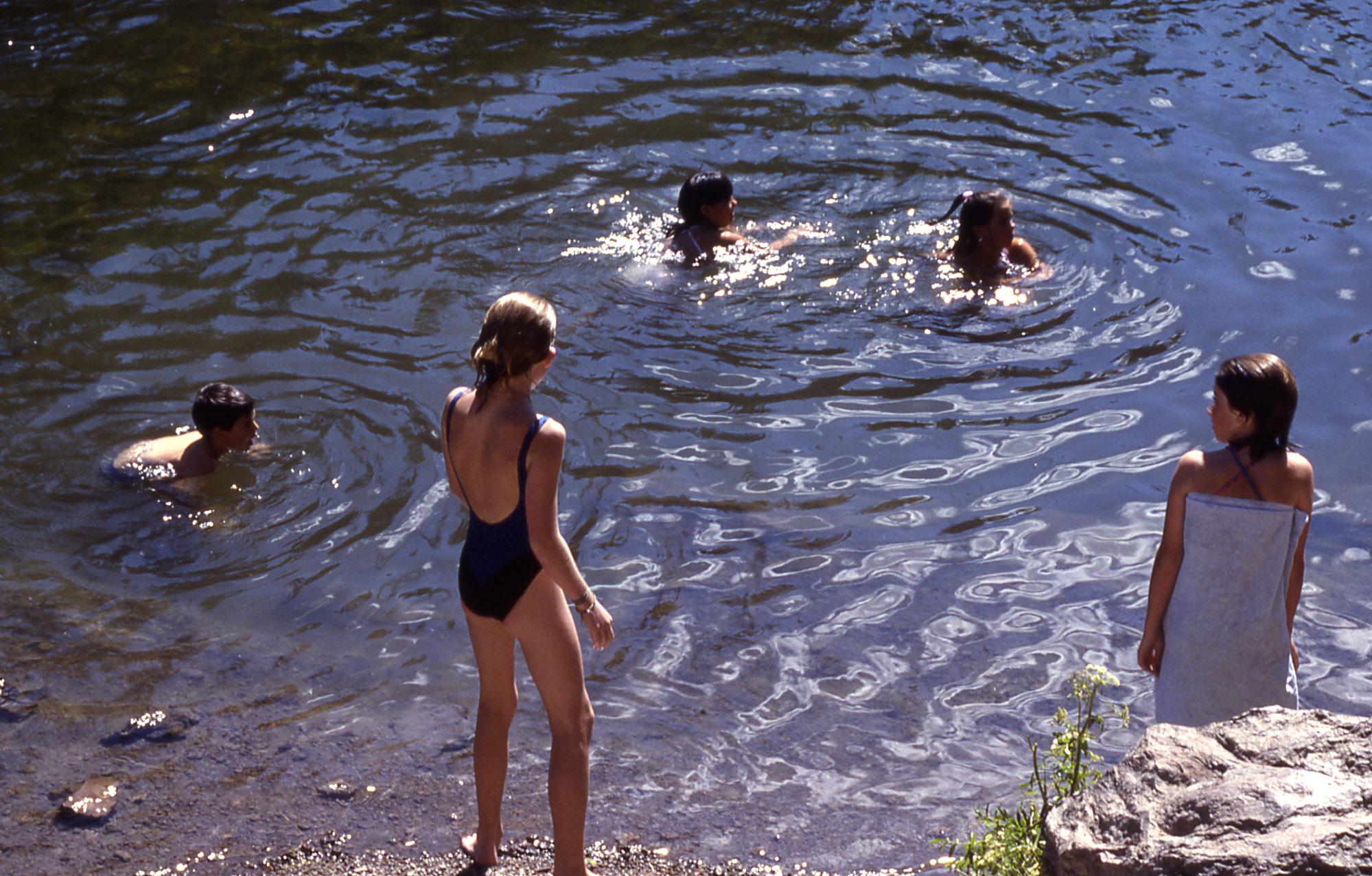 Kids Swimming In A Lake yellowstone digital slide file