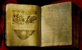 George Washington Bible open to the page upon which George Washington laid his hand during his first inauguration.