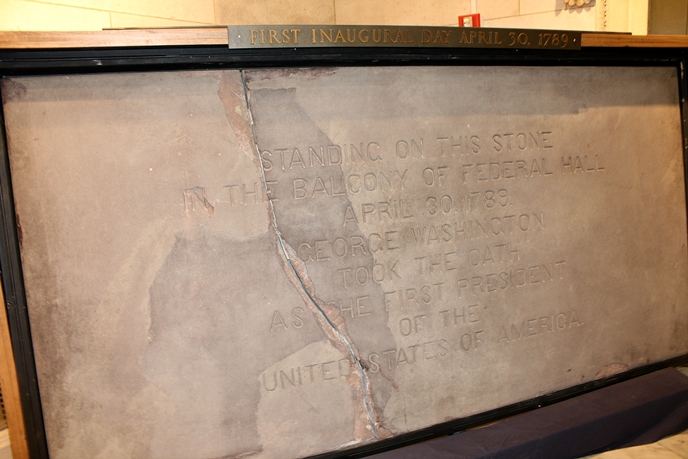 Balcony slab from George Washington's first inauguration.