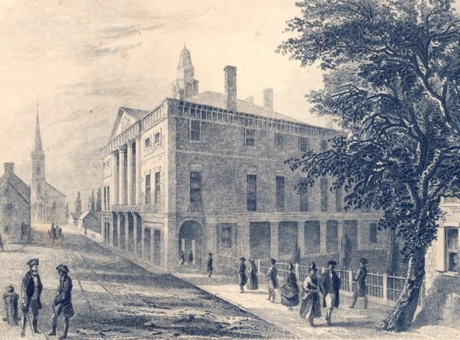 Artist conception of the original Federal Hall.