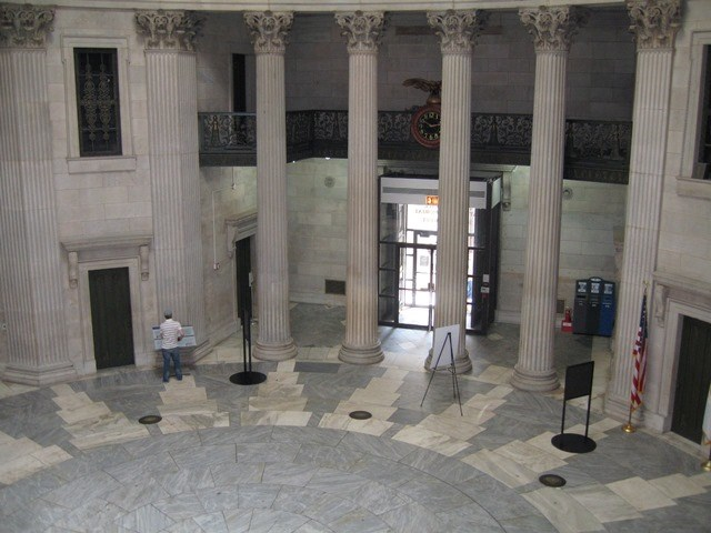Visitor in Rotunda of Federal Hall NM