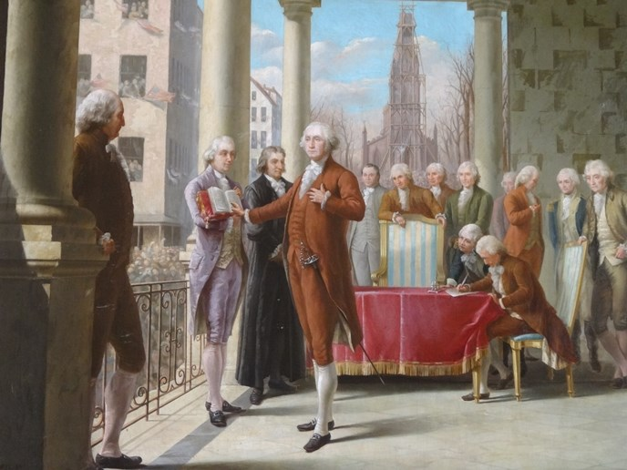 George Washington taking his oath of office as the first president of the United States.