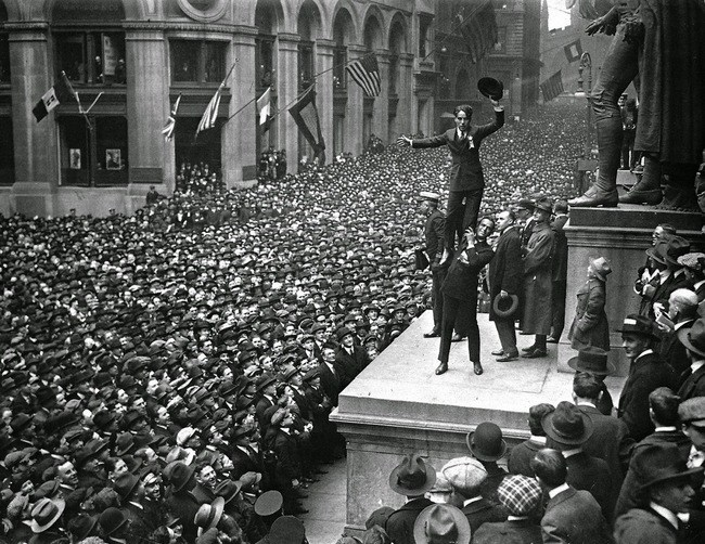 Douglas Fairbanks and Charlie Chaplin in front of Federal Hall during a War Bond Rally in 1918