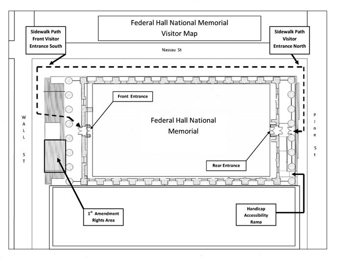 Map showing temporary change in how to access Federal Hall National Memorial