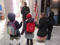 Federal Hall park ranger gives a tour.