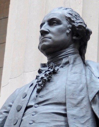 Statue of George Washington on steps of Federal Hall.