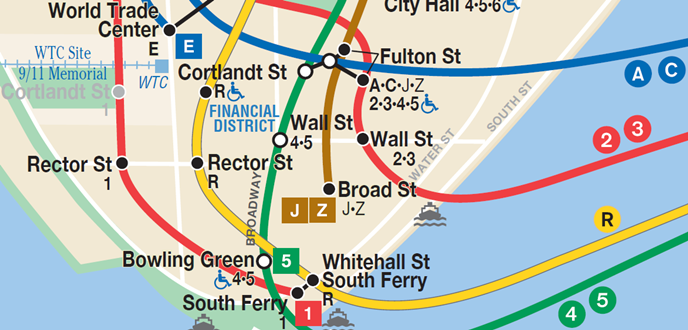 Subway map of Wall Street area.