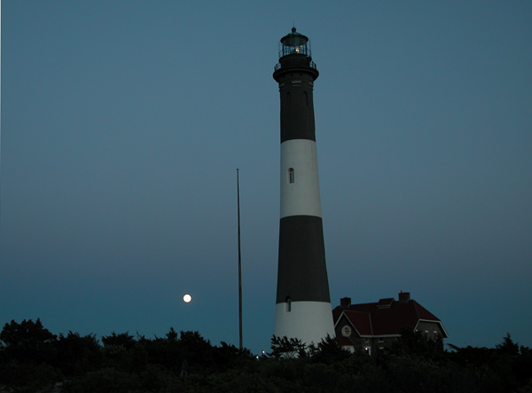 Fire Island Lighthouse with full moon rising