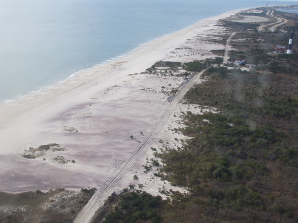 2012-11-05 overflight view of Fire Island Lighthouse, beach, and Burma Road, looking west.