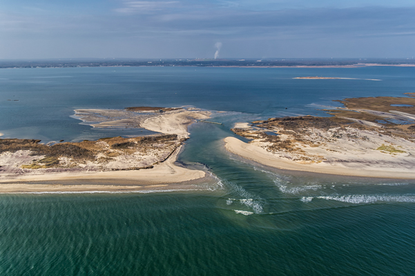 Aerial image of Old Inlet breach, looking north, on 11/10/2012.