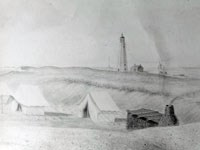 Historic drawing of first Fire Island Lighthouse.