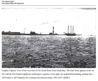 Historic image of Fire Island Lighthouse and Surf Hotel, as seen from the bay.