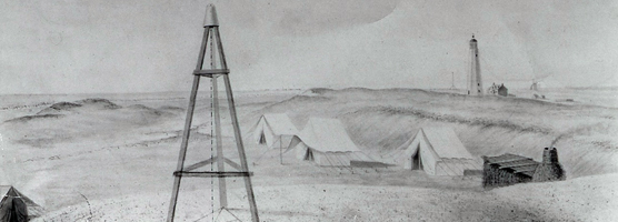 Portion of 1837 sketch by USGS showing first Fire Island Lighthouse.