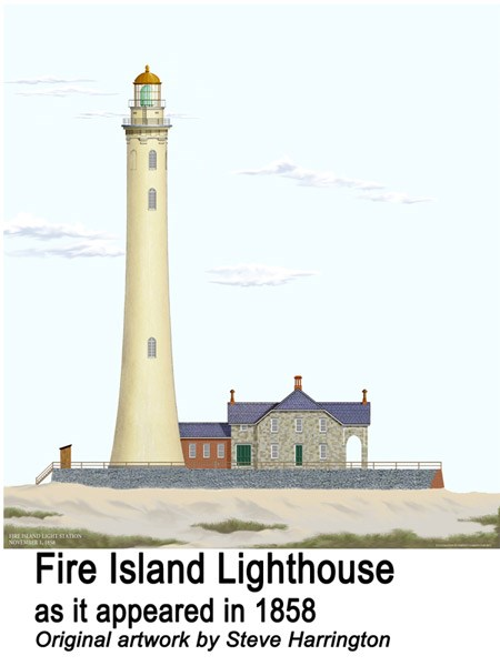 1858 Fire Island Lighthouse sketch showing exterior elevation.