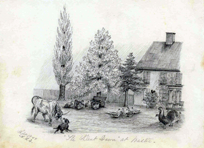 "1859 Katherine Floyd Dana sketch of Old Mastic House: ""Silent Dawn"""