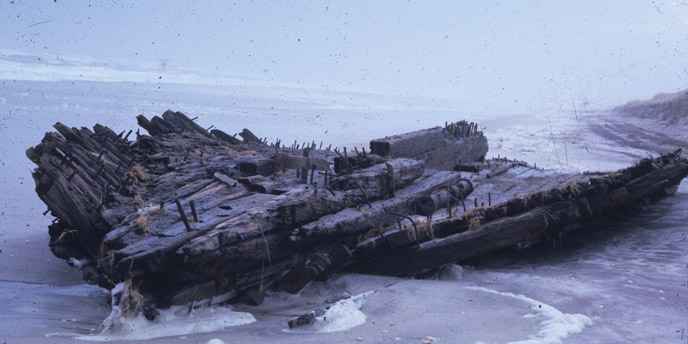 A 1975 photo of the hull of what is believed to be the Bessie White wreck.