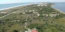 View from the top of Fire Island Lighthouse, looking west over the narrow island to the inlet in the distance.
