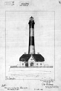 Historic drawing of Fire Island Lighthouse.