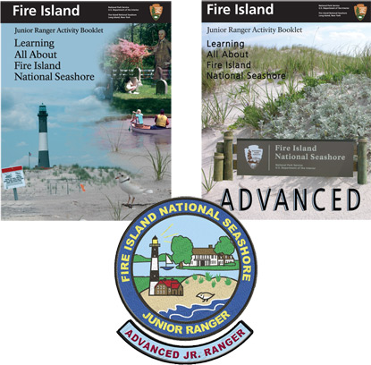 Fire Island's junior ranger booklets and patches.
