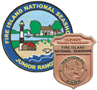 Image of Fire Island's multicolored Junior Ranger patch and gold plastic Junior Ranger badge.
