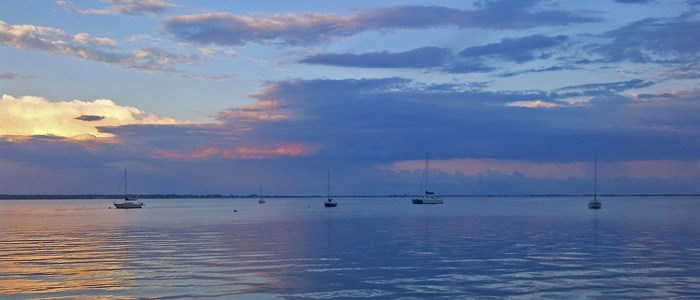 Boats on the Great South Bay at sunset