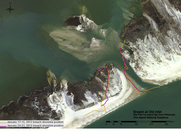 Photo showing position of the breach at Old Inlet on January 25, 2013