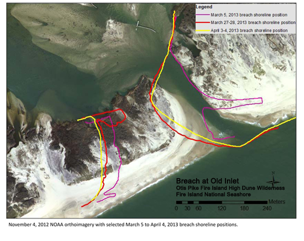 Photo showing position of the breach at Old Inlet on April 4, 2013.