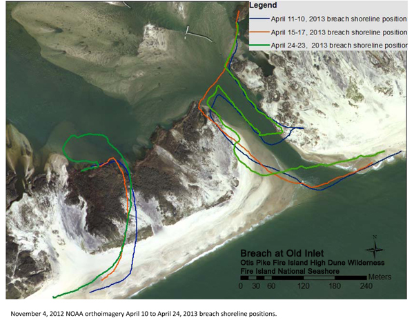 Photo showing position of the breach at Old Inlet on April 24, 2013.