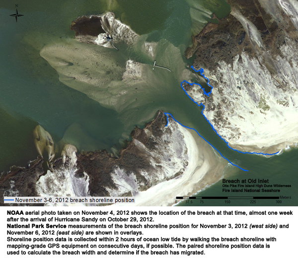 Photograph showing location of the Old Inlet breach on 11-04-2012.