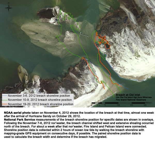 Photo showing position of the breach at Old Inlet on 11-20-2012.