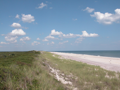 View of dune line, looking east on a clear day with puffy clouds.