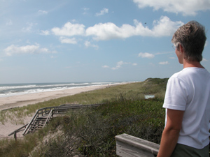 Woman looks over dunes and beach to rough ocean surf.