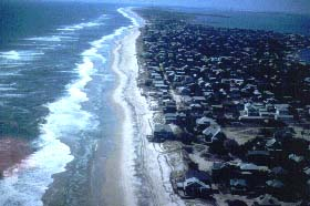 Aerial view of Fire Island shoreline in front of communities.
