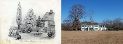 1859 sketch by Katherine Floyd Dana and 2012 photo of Old Mastic House Grounds