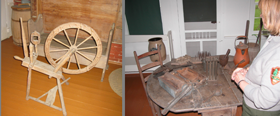 Historic implements and spinning wheel.