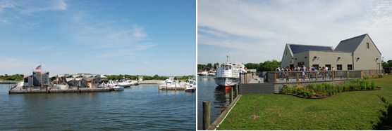 Views of Watch Hill Marina and Patchogue Ferry Terminal.