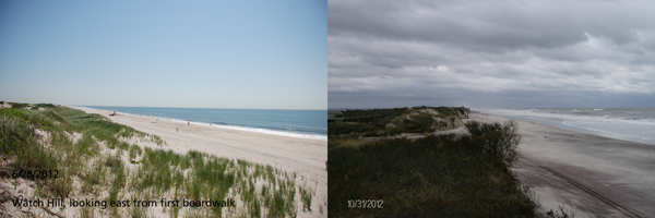 View of Watch Hill beach before and after Hurricane Sandy: 06-28-2012 and 10-31-2012
