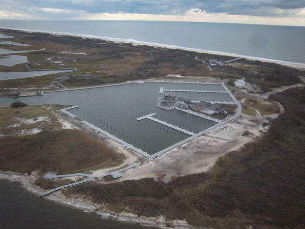 Aerial view of Watch Hill, Fire Island, on November 2, 2012.