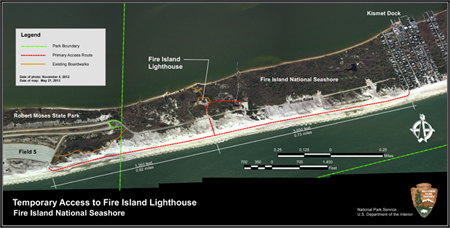 2013 map showing access routes to Fire Island Lighthouse