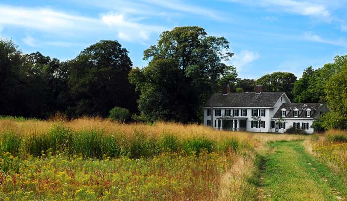 A view of the Old Mastic House from the grounds