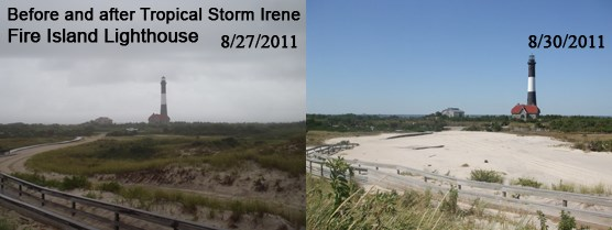 Fire Island Lighthouse before and after Tropical Storm Irene: 8-27-2011 and 8-30-2011