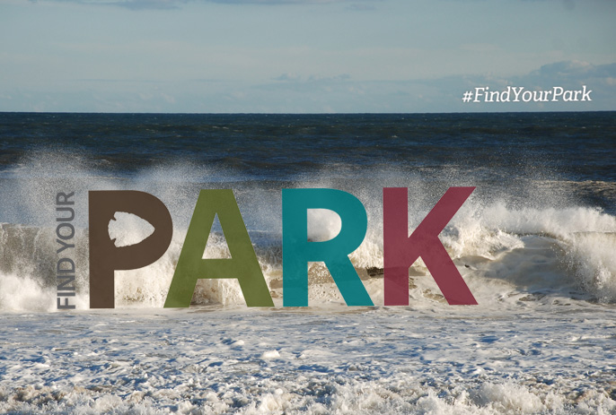 The Find Your Park campaign logo is set against an image of waves crashing.