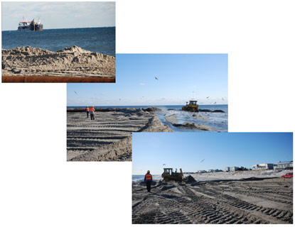 Collage of dredging and sand placement work on beach in front of houses.