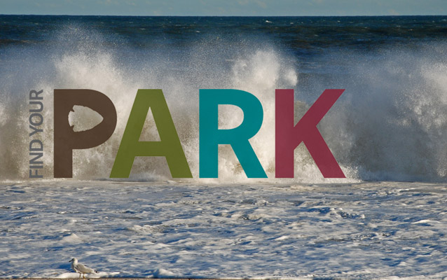 Wave crashing with Find Your Park logo.