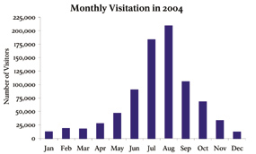 Bar graph showing steady rise and fall in visitation during summer months.
