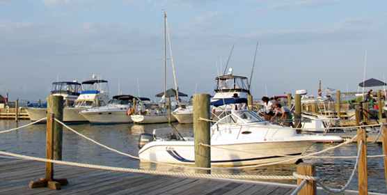 Boat docking at Sailors Haven Marina.