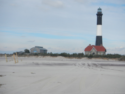Fire Island Lighthouse and Fresnel Lens Building from beach