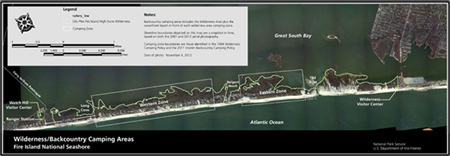 2013 Fire Island Wilderness backcountry camping zone map