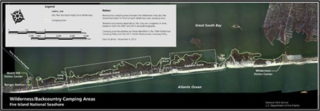 2013 map of Fire Island Wilderness backcountry camping zones