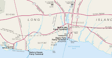 Map of Fire Island National Seashore ferry terminal locations in Sayville and Patchogue.
